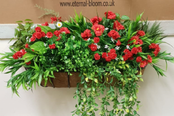 Artificial Wall Manger ,  Red  Greenery Mixed Flowers
